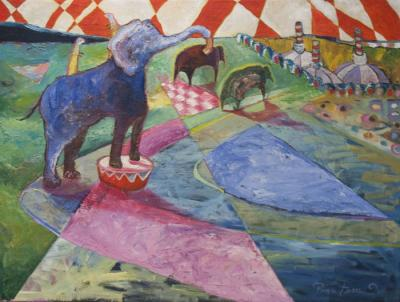Blue Elephant Circus Act in your Garden by Wendy Jane Bantam