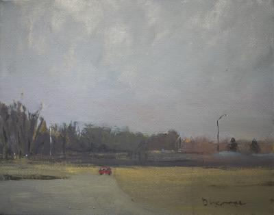 Red Car, Light Poles by Stephen Dinsmore