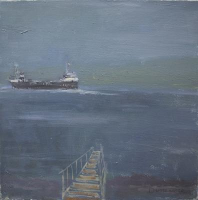 Dock & Freighter by Stephen Dinsmore
