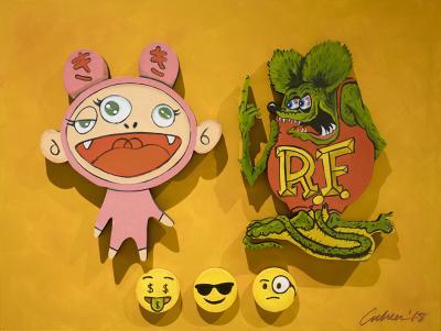 "Big Daddy Roth ""rat fink"" vs. Murakami anime by Bob Culver"