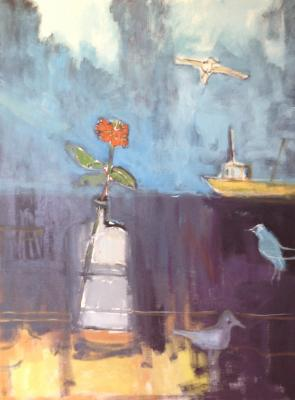 Still Life with Gulls and Lobster Boat by Stephen Dinsmore