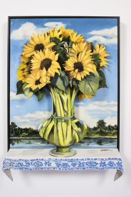 Sunflowers, the Missouri and a Bee by Bob Culver