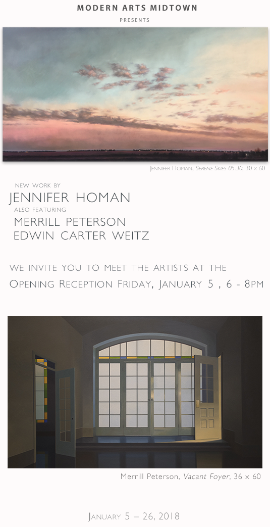 New Work by Jennifer Homan featuring Merrill Peterson and Edwin Carter Weitz